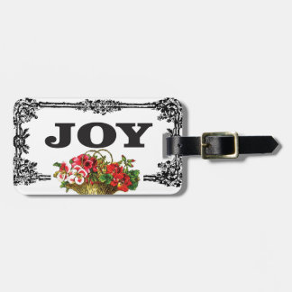 red pink flowers art luggage tag