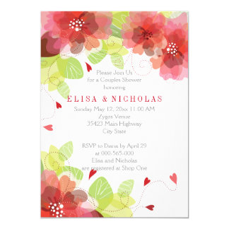 Red, pink flowers floral wedding couples shower card