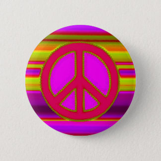 Red Pink Fractal & Peace Sign Button