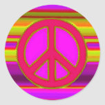 Red Pink Fractal & Peace Sign Classic Round Sticker