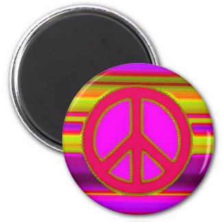 Red Pink Fractal & Peace Sign 2 Inch Round Magnet