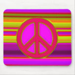 Red Pink Fractal & Peace Sign Mouse Pad