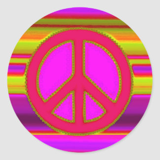 Red Pink Fractal & Peace Sign Round Sticker