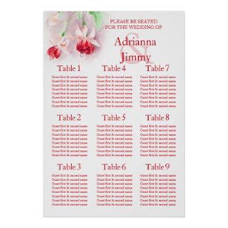 Red pink fuchsia Wedding Seating Table Planner 1-9 Poster