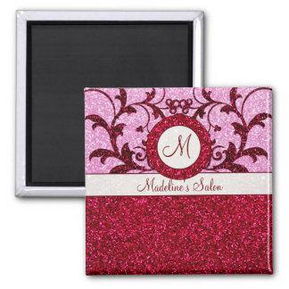 Red pink glitter custom square monogram magnet