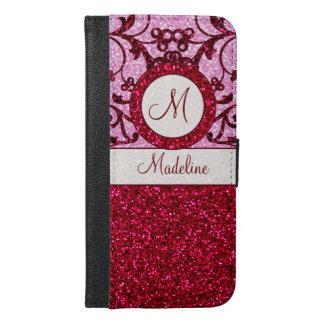 Red pink glitter iphone6 monogram case