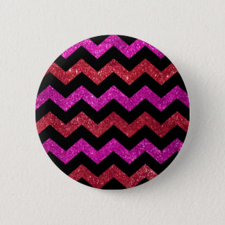 Red Pink Glitter Zigzag Pattern Pinback Button
