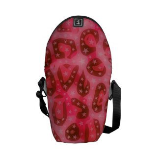 Red Pink Glowing Cheetah Courier Bag