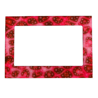 Red Pink Glowing Cheetah Magnetic Picture Frame