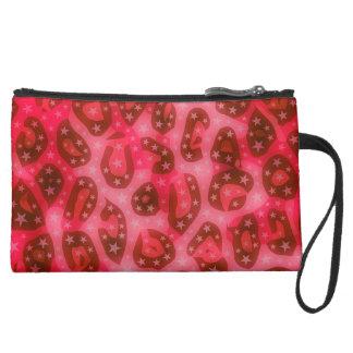Red Pink Glowing Cheetah Suede Wristlet Wallet