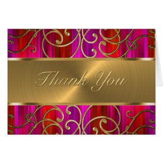 Red Pink Gold Filigree Swirls Thank You Card