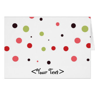 Red Pink Green and Black Polka Dots Stationery Note Card
