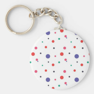 Red Pink Green and Black Polka Dots Keychain