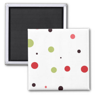 Red Pink Green and Black Polka Dots Magnet