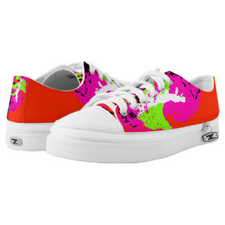 Red Pink Green White Black Color Run Printed Shoes