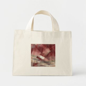 Red pink grey plaid collage stripes pattern design bag