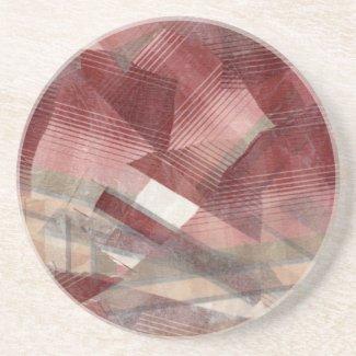 Red pink grey plaid collage stripes pattern design coaster
