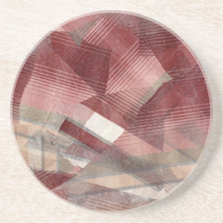 Red pink grey plaid collage stripes pattern design drink coaster
