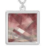 Red pink grey plaid collage stripes pattern design pendants