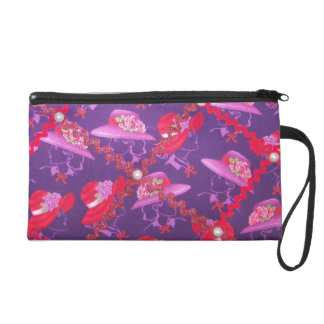 red/pink hatters wristlet