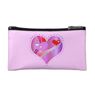 Red & Pink HEART Accessory - Clutch - Cosmetic BAG