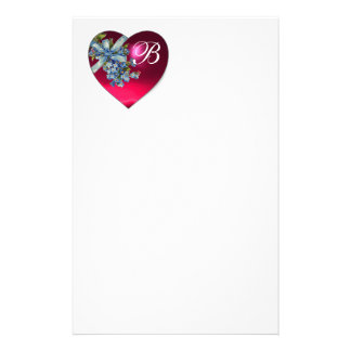 RED PINK HEART & FORGET ME NOTS MONOGRAM STATIONERY