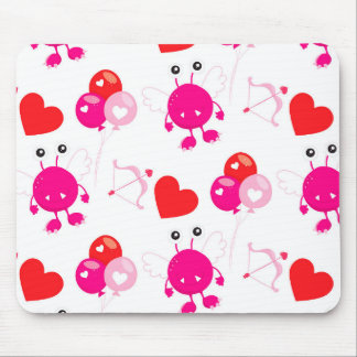 Red Pink Heart Valentine Cute Monster Love Gift Mouse Pad
