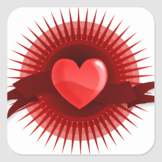 Red Pink Heart Valentine's Day Love Gifts Square Sticker