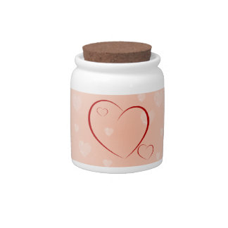 Red & Pink Hearts Candy Jar