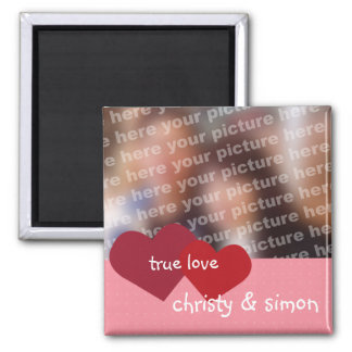 Red pink hearts true love custom photo valentine 2 inch square magnet