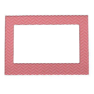 Red Pink Herringbone ZigZags Pattern Magnetic Picture Frames
