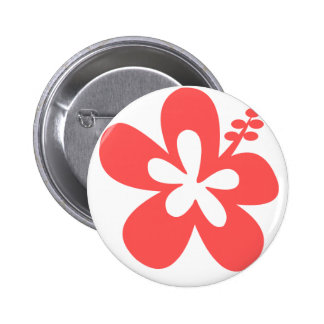 red pink hibiscus aloha flower pinback button