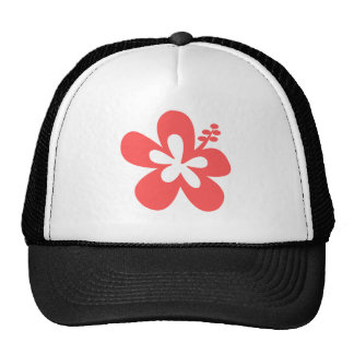 red pink hibiscus aloha flower trucker hat