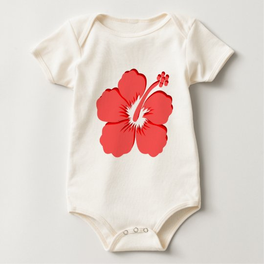 Red Pink hibiscus design Baby Bodysuit
