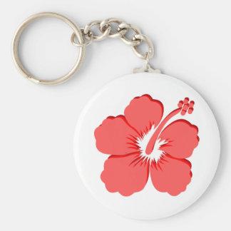 Red Pink hibiscus design Keychain
