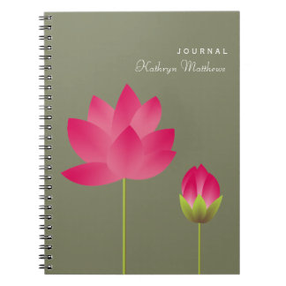 Red pink lotus budding flower blossom journal note books