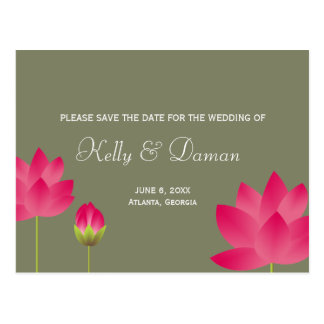 Red pink lotus flowers modern green save the date postcard