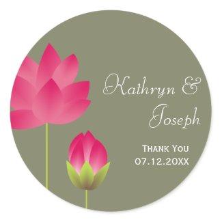 Red pink lotus flowers tea green wedding favor sticker