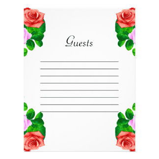 Red & Pink Old Fashioned Roses Wedding Letterhead