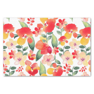 """Red & Pink Painted Floral 10"""" X 15"""" Tissue Paper"""