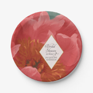 Red Pink Peony Floral Spring Bridal Shower Elegant Paper Plate