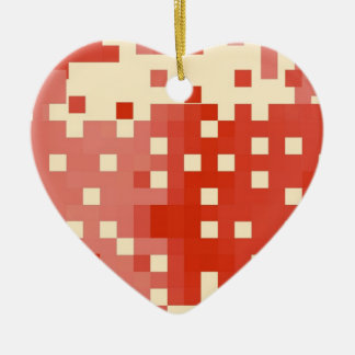 Red & Pink Pixel Pattern Ceramic Ornament