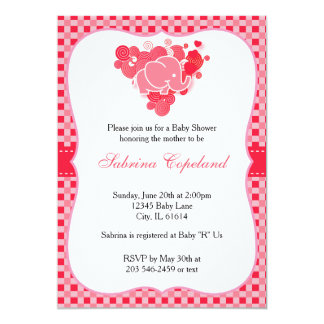 Red & Pink Plaid Baby Elephant for a Baby Shower Card