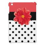 Red pink polka dot flower ipad mini case
