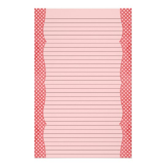 Red & Pink Polka Dot Stationery - optional lines