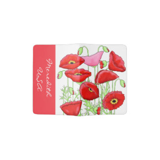 Red Pink Poppies Art Country and Name Personalized Passport Holder