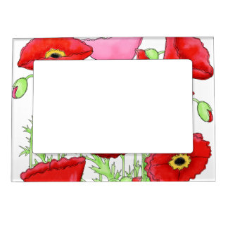 Red Pink Poppies Art Custom Magnetic Frame