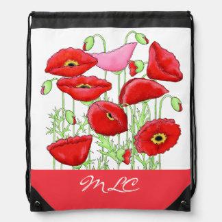 Red Pink Poppies Art Custom Monogram Personalized Drawstring Backpack