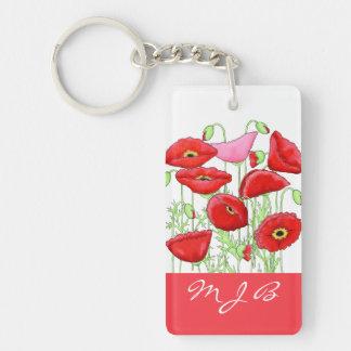 Red Pink Poppies Art Custom Monogram Personalized Keychain