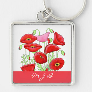 Red Pink Poppies Art Custom Monogram Personalized Keychain